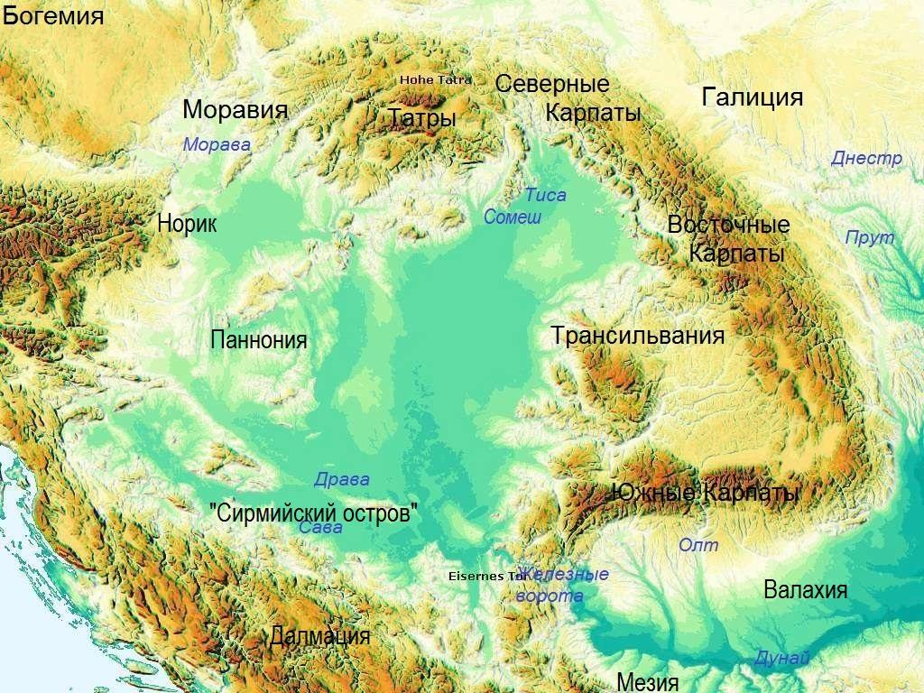 Карпатская котловина. Вид из космоса